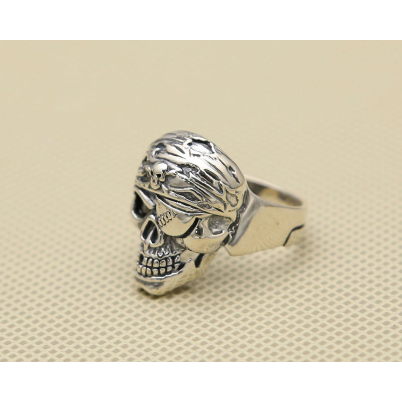 Pure 925 Sterling Silver Jewelry Skull Rings Fashion Skeleton Punk Pirates of the Caribbean Mens Signet Ring Special Gift 286