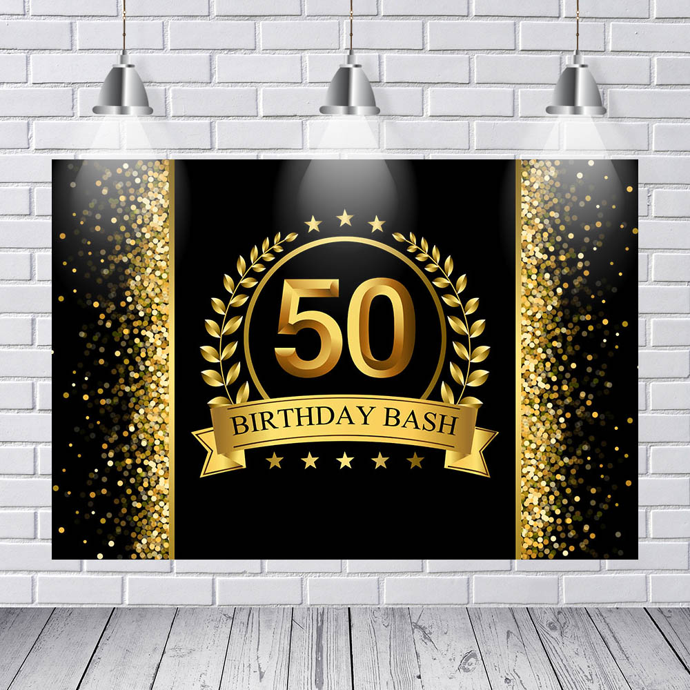 Us 801 44 Offvinyl Fotografi Latar Belakang Dewasa Mewah 50th Dekorasi Pesta Ulang Tahun Emas Hitam Bintang Glitter Banner Latar Belakang Foto