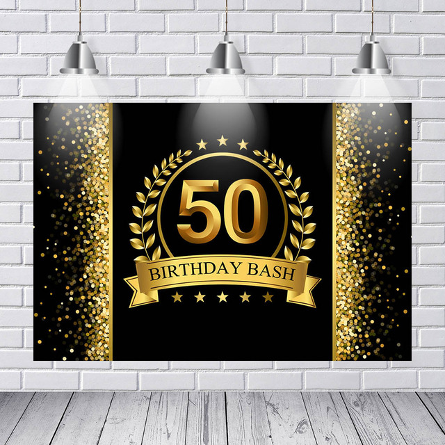 Vinyl Photography Background Adult Luxury 50th Birthday Party Decor Black Gold Glitter Star Banner Backdrop Photo Studio