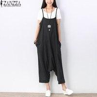 2017 ZANZEA Womens Wide Leg Strappy Asymmetrical Jumpsuit Casual Loose Harem Cotton Long Trousers Pants Romper