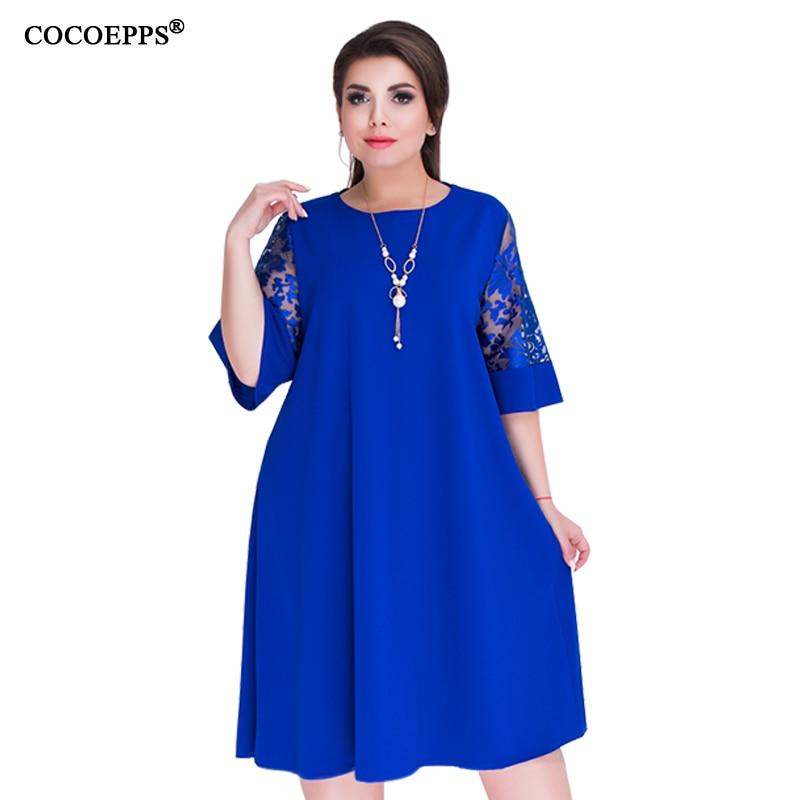 01f1f399535 COCOEPPS свободные кружевные летние платья Большой размер 2019 плюс размер  женское Платье До Колена офисное платье Винтаж vestidos L-6XL зеленое платье