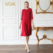VOA Brick Red A Line Silk Dress Loose Fall Midi Dresses Casual Women Clothes Georgette Mesh Vintage Elegant vestido Luxury A863