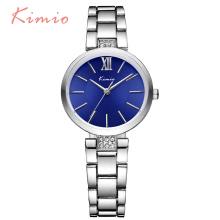 KIMIO Simple Thin Rhinestone Rose Gold Quartz Watches Women Fashion 2017 Ladies Watch Women's Watches Dress Wristwatch For Women