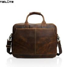 TAILUTE New Fashion Genuine Leather Men Bag Famous Brand Shoulder Bag Messenger Bags Causal Handbag Laptop Briefcase Male
