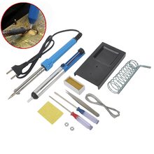 220V 60W Soldering Iron Set 9 in 1 Desoldering Welding Pump Tin
