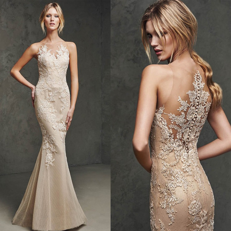 Champagne Mermaid Lace Appliques Long O neck Sleeveless Tulle Elegant Women Prom gowns Sexy Formal Party   bridesmaid     dresses