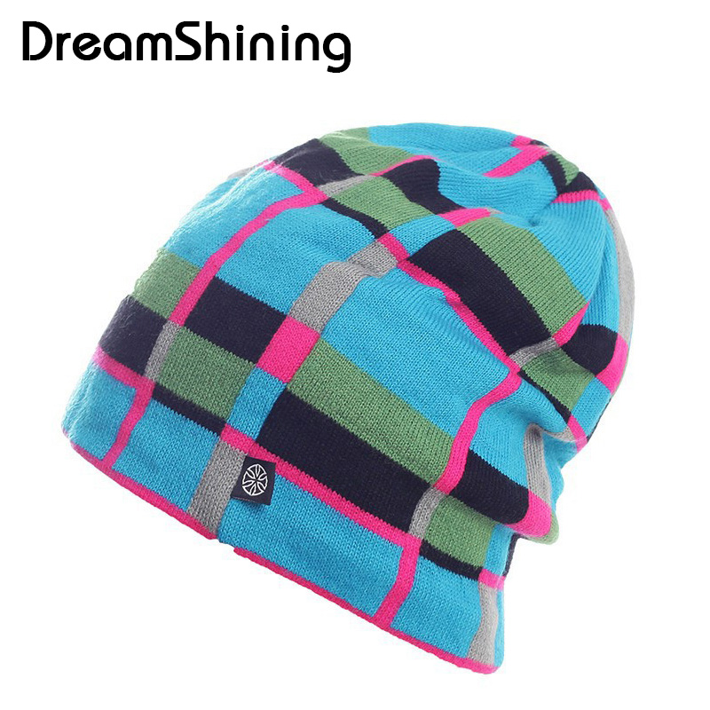 DreamShining Winter  Ski Hat High Quality Snowboard Skating Unisex Caps Warm Plaid Knitting Beanies Knitted Hats Gorros E Toucas unisex men women skiing hats warm winter knitting skating skull cap hat beanies turtleneck caps ski cap snowboard hats