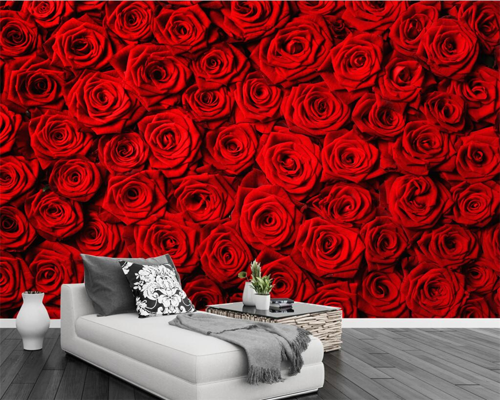 Beibehang Custom wallpaper red rose wall TV background wall living room sofa background wall decoration mural 3d wallpaper photo все цены