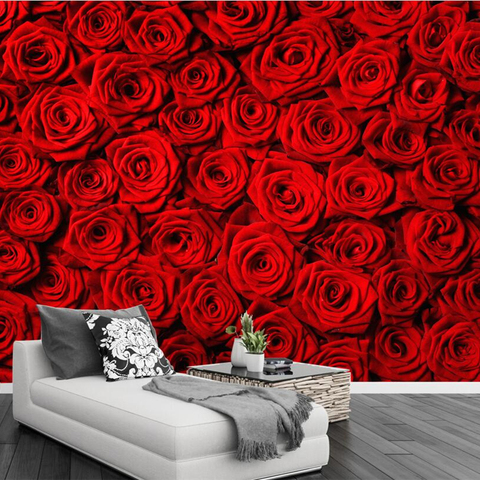 Beibehang Custom wallpaper red rose wall TV background wall living room sofa background wall decoration