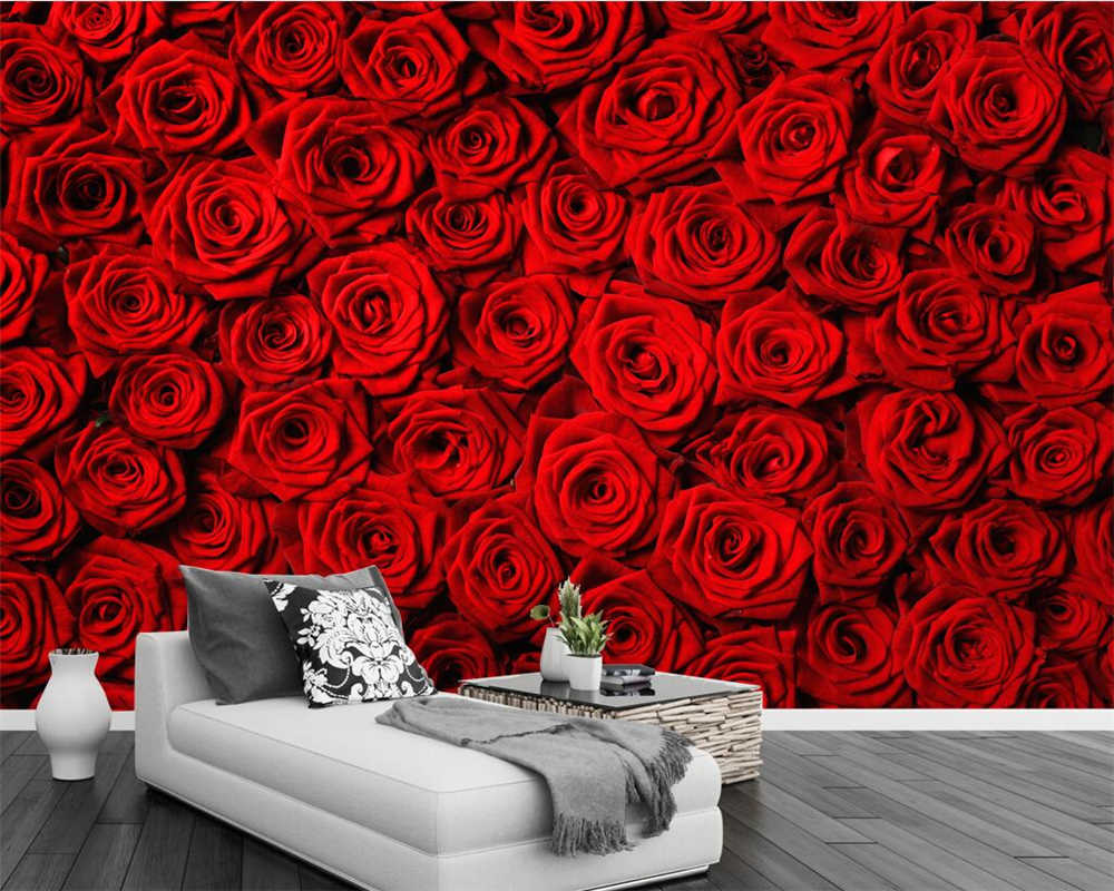 Beibehang Custom Wallpaper Red Rose Wall Tv Background Wall