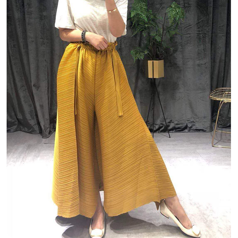 LANMREM 2019 Spring Summer Pelated Clothes For Elastic Waist Directly Trousers Bandage Causal Irregular Wide Leg