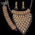 2017 Moda Boho Del Estilo de La India Joyería de Sistemas de Dubai Chapado En Oro de Joyería Set Nigeriano Boda Africana Nupcial Bijoux Para Las Mujeres