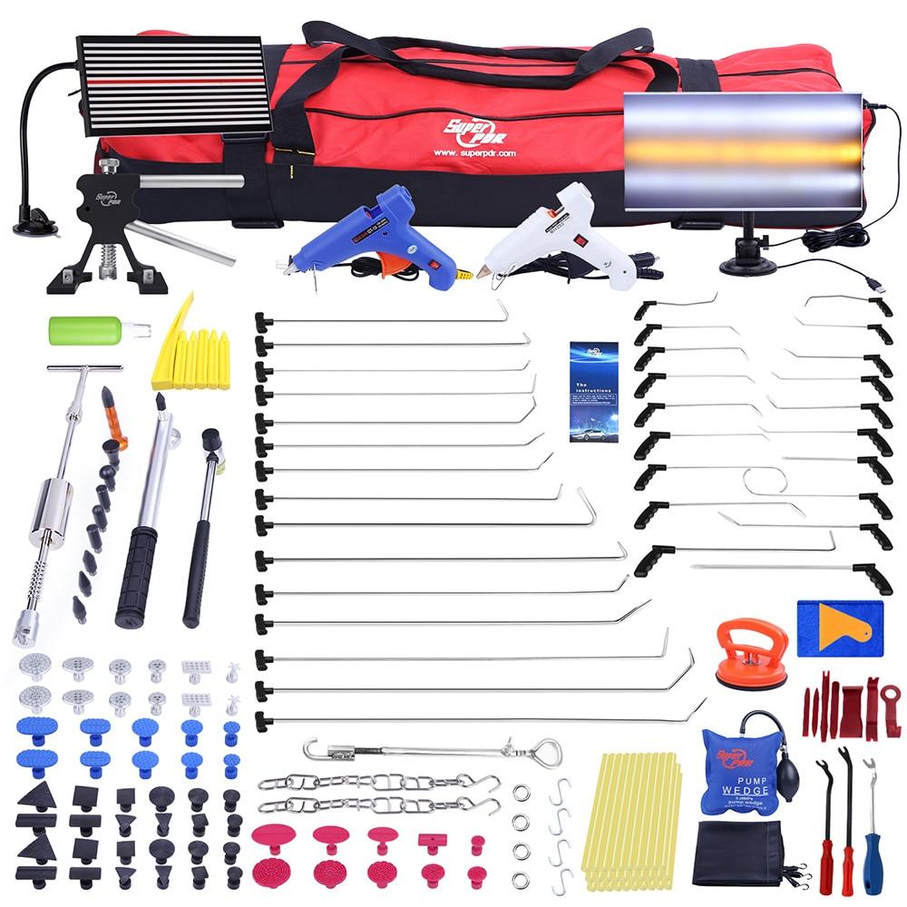 PDR Push Rod Ganci Piede di Porco Paintless Dent Repair Tools Luce del Riflettore LED Bordo Slide hammer PDR Dent Removal tool kit
