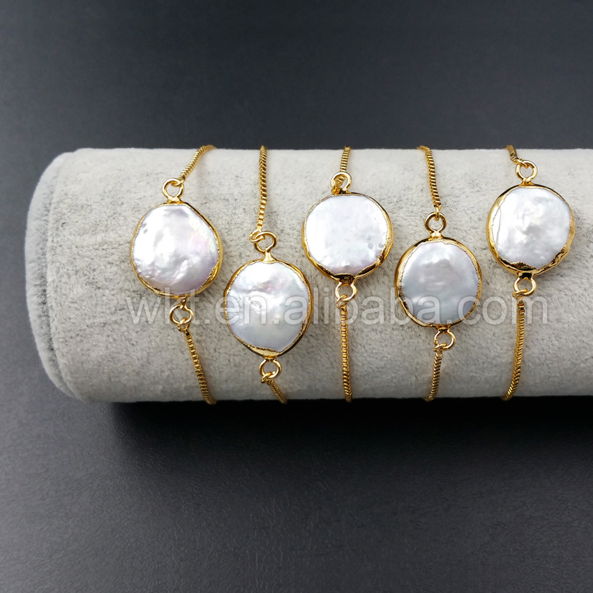 WT-B306 Hotsales Natural mother of pearl bracelet, 24k gold dipped round pearl chain bracelet in adjustable size