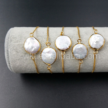 Pearl-Bracelet Round-Pearl Hotsales Adjustable-Size Natural 24k WT-B306 Gold-Dipped of