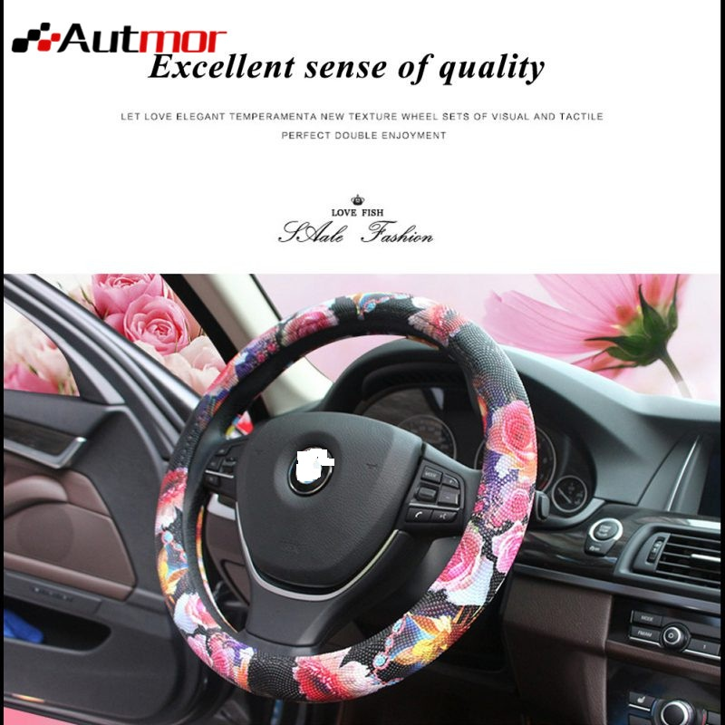 wheel Cover 38CM Car PU Leather Universal Car Steering -styling Sport Auto Steering Wheel Covers Anti-Slip Automotive Accessorie