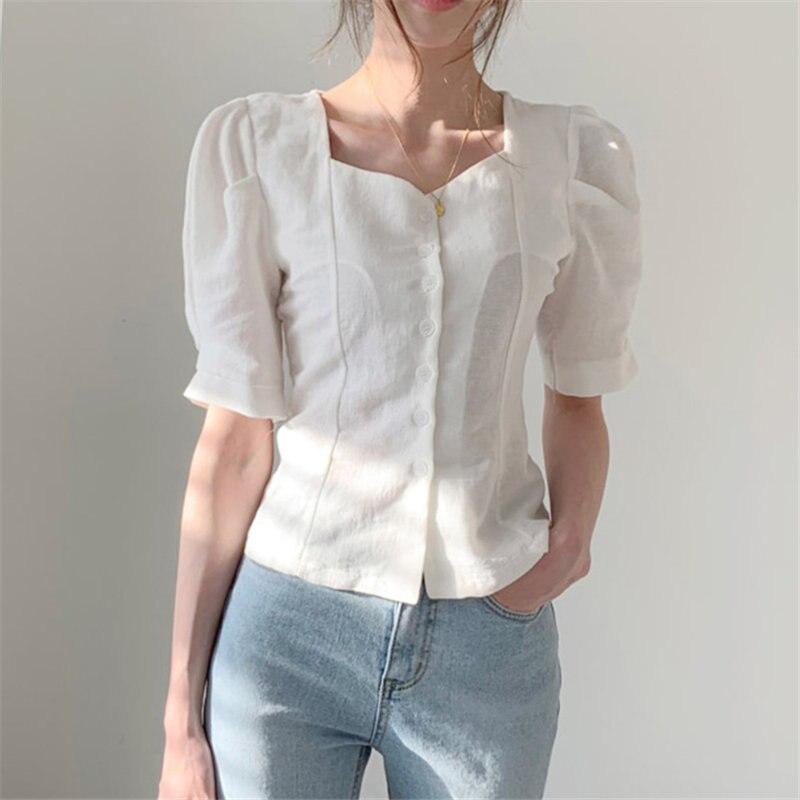 Alien Kitty 2019 Summer Korea Women Square Collar Stylish Waist-Controlled Loose Fresh Sweet Vintage Slim Short Sleeves Shirts
