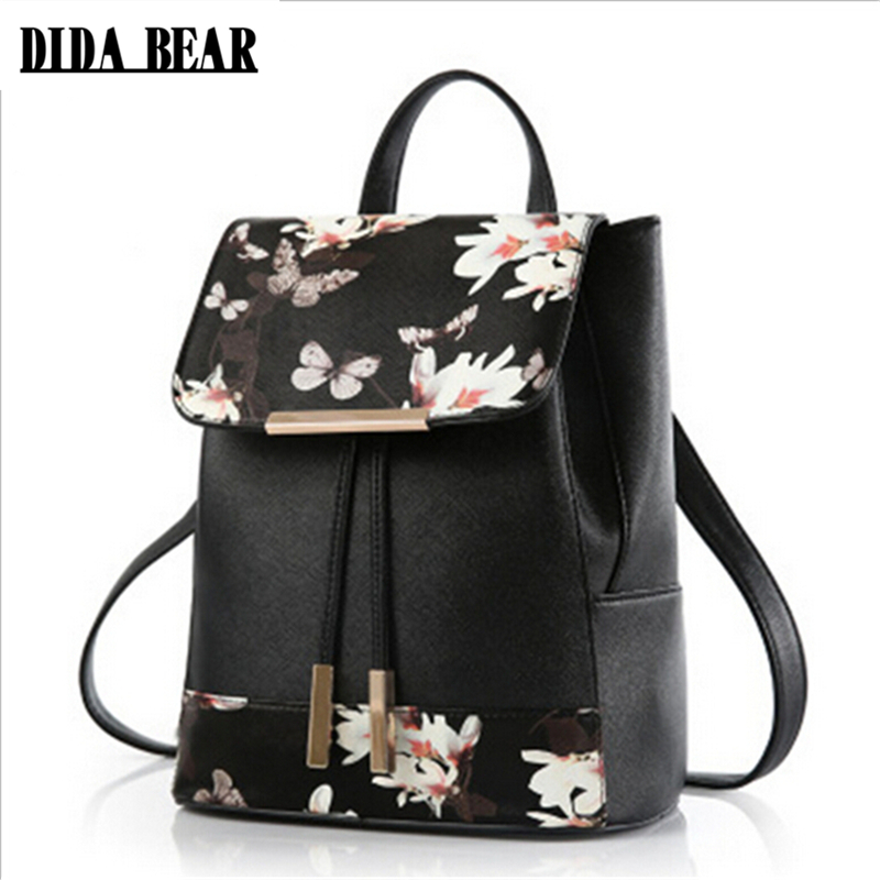 DIDA BEAR Women PU Leather Backpacks Rucksack Schoolbags For Girls Teenagers Bagpack Flower Feather Mochila Feminina Sac A Dos dida bear women leather backpacks bolsas mochila feminina girls large schoolbags travel bag sac a dos black pink solid patchwork