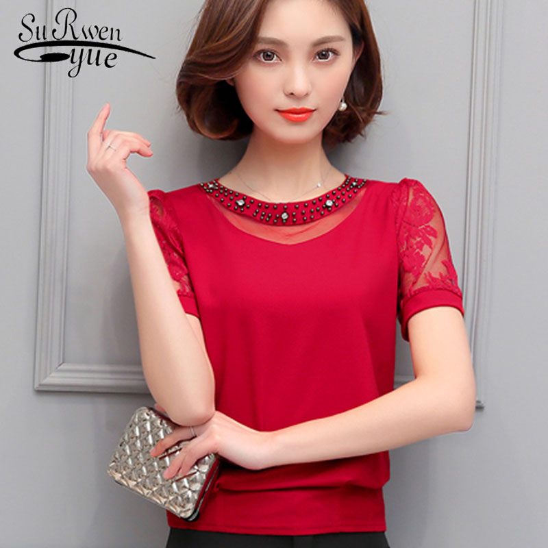 Women Blouse Shirt Fashion 2019 Sexy Hollow Out Chiffon Women's Clothing Short Sleeve Beading O-neck Women Tops Blusas 81H 30