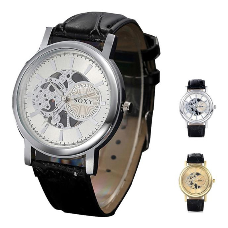 Nieuwe Luxe Merk Mannen Quartz Horloge Hol Legering Faux Lederen Band Fashion Business Gold Horloges Heren Groothandel 5