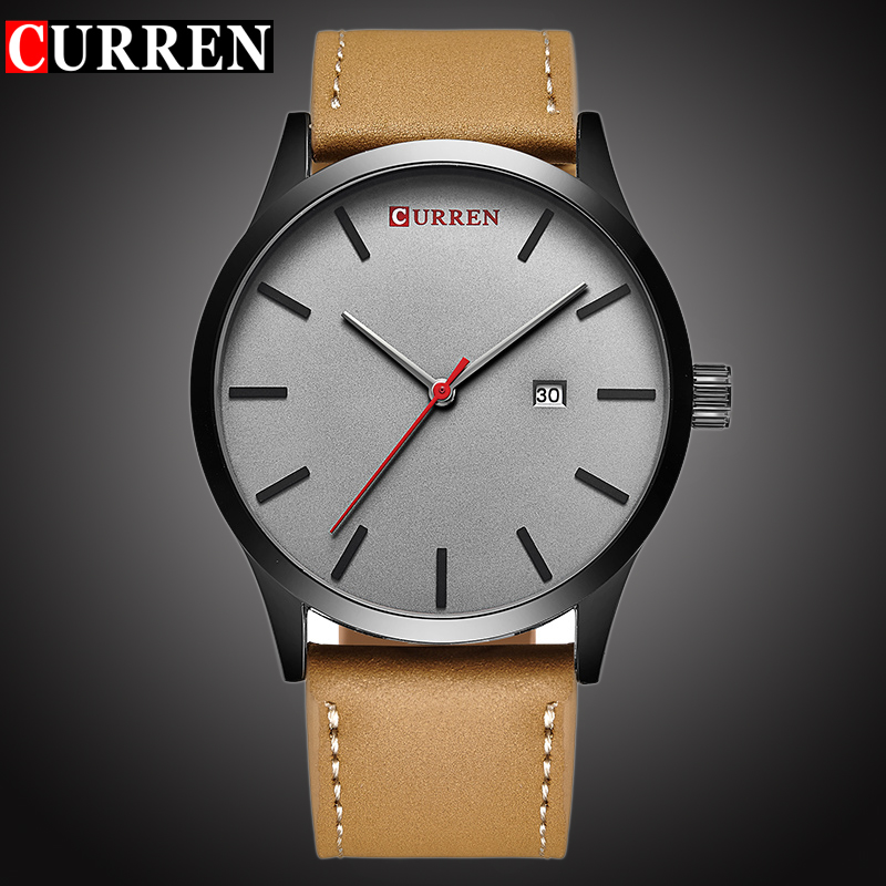 CURREN Top Marque De Luxe de Quartz montre hommes Casual montre-Bracelet En Cuir Horloge Mâle D'affaires auto Date Étanche Nouveau