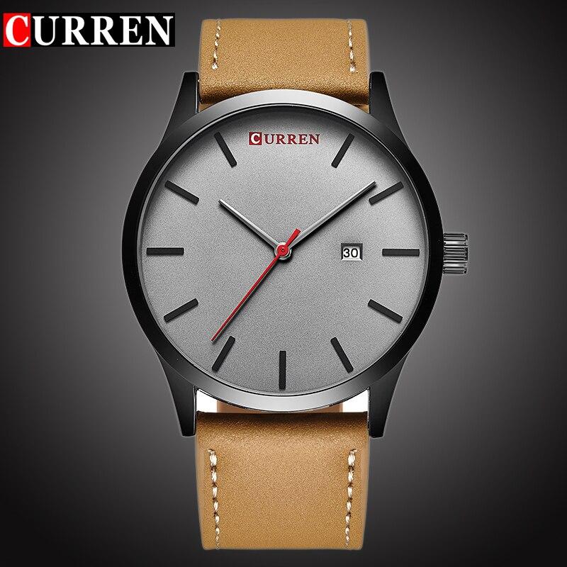Curren Top marca de lujo reloj de cuarzo hombres reloj de cuero casual reloj hombre de negocios auto fecha impermeable nuevo