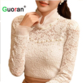 {Guoran}Plus Size Women Lace Blouses Ruffled Collar Beading Sexy Office Ladies Shirts White Black Female Hollow Out Shirts Girls