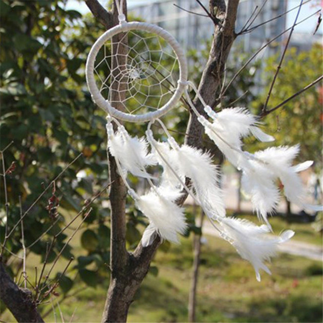 White Dream Catcher Circular Net With Feathers Wall Hanging Decoration Decor Party Christmas Wedding Home Ornament  872493