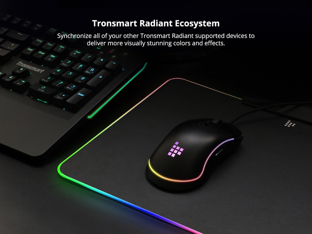 Tronsmart Shine X Gaming Mouse Pad RGB 16.8 Million Color Compupter Mouse Pad Gamer USB Mat with Touch Sensor for world of tanks 9
