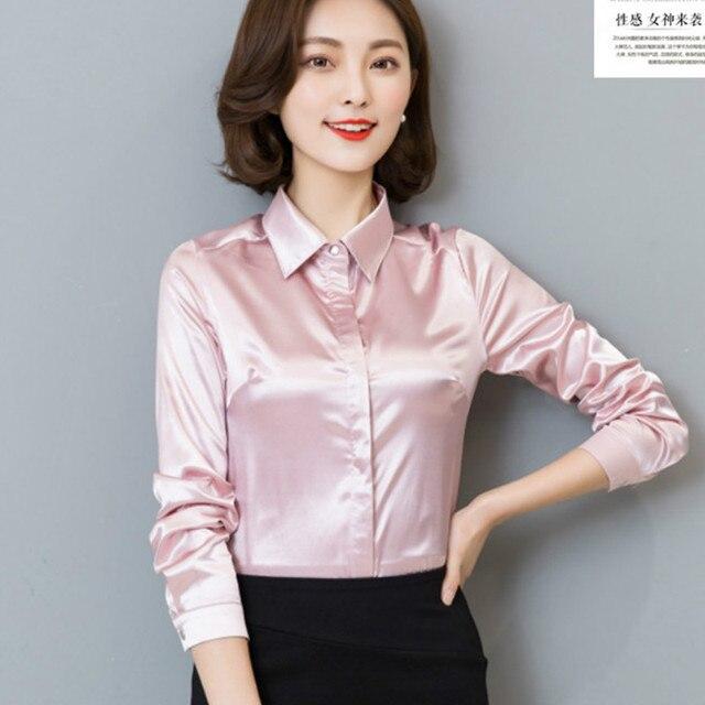 581113f6c 2017 Spring long sleeve pink satin shirts women office OL satin blouses  lady work wear silk satin top silk shirt chiffon blouse