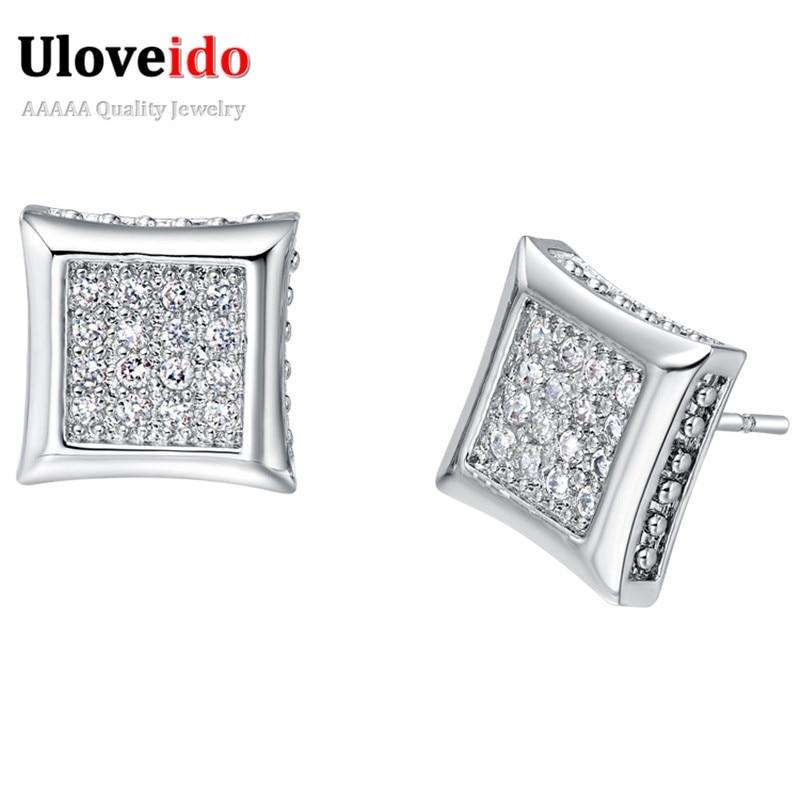 Uloveido Silver Stud Earrings for Women Earings Fashion Jewelry 2017 Studs Crystal Earring Jewelery Cubic Zirconia Earrings R293