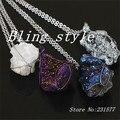 Mix cor titânio natural drusy druzy pedra de quartzo fio enrolado bule / branco / vermelho / cinza pedra colar
