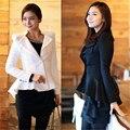 Mulheres outono Cardigan Blazer Swallow Shoulder Cauda Poder Brasão Jacket Blazers Mulheres Brancas Pretas Roupas Um botão Blazer S-XL