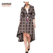 2018 african casual long coat for women AFRIPRIDE half sleeve calf-length button belt causal 100% pure cotton A722419