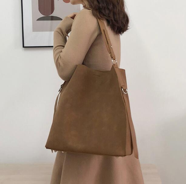 All-Match Bucket Bag Nubuck Leather One Shoulder Women's Handbags Large Capacity Female Bag T986/78Q