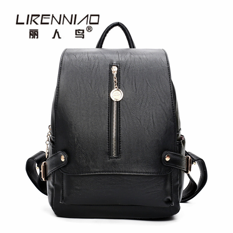 LIRENNIAO Softback Travel Woman Backpack sac a dos femme lady black Leather Backpack Women SchoolBag For