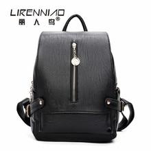 Lirenniao softback путешествия Женщина рюкзак мешок DOS Femme леди черный кожаный рюкзак женщины школьный для девочек Mochilas Mujer