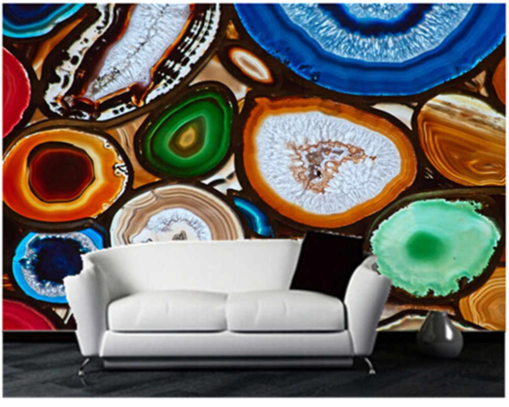 Custom papel de parede 3D for TV sofa setting wall mural wallpaper Translucent Mosaic create with slices of Agate Stone