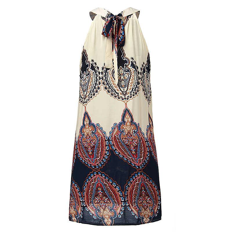 ZANZEA 여름 스타일 2020 패션 여성 캐주얼 루즈 한 시폰 드레스 섹시한 민소매 o 넥 프린트 Vestidos Beach Mini Dress