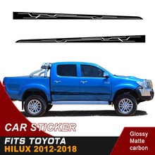 2PC free shipping car sticker side door stripe racing 4x4 accessories vinyl graphic for hilux