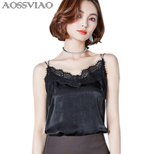 Lace Crop Top Women Shirt 2019 Summer Sleeveless Blouse Shirt Casual Loose Tank Tops Style Sexy V-Neck Cami Female Vest Ladies