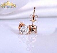 5e27d12375c58 18K Gold 2PCS 1CT 6.5MM D Color Moissanite Earrings For Women M 0.3 ...