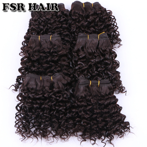 Image 4 - FSR Synthetic Hair weave Short Kinky Curly hair weaving 6 pieces/Lot 210g hair product