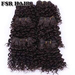 Image 4 - FSR syntetyczne doczepiane włosy krótkie perwersyjne kręcone włosy tkackie 6 części/partia 210g produkt do włosów