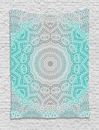 Grey and Turquoise Tapestry Primitive Spiritual Essence and Universe Harmony Mandala Ombre Art Wall Hanging for Living Room Dorm