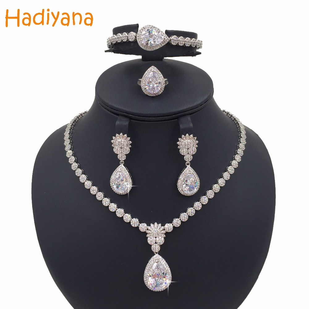 Hadiyana Classic Luxury Zirconia Crystal 4pcs Jewelry Bridal Sets For Women New Girls Copper Wedding Party Set Sliver Gold CN016 cn016 v0 touchscreen