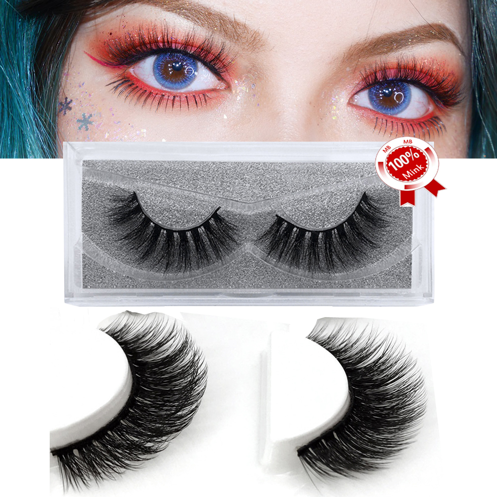 MB 1 Pairs 100% Handmade Eye Lashes 3D Real Mink Makeup Cluster Lashes Fake False Eyelashes Extension With Glitter Packing image