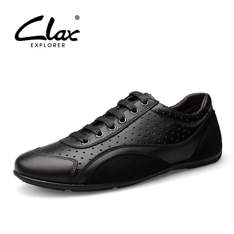CLAX Mens Shoes Genuine Leather Summer Male Casual Shoes Mans Walking Footwear Leisuer Shoe with Breathable