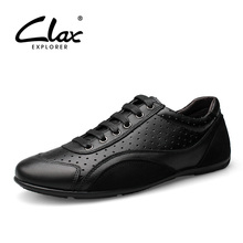 CLAX Mens Shoes Genuine Leather Summer Male Casual Mans Walking Footwear Leisuer Shoe with Breathable Holes