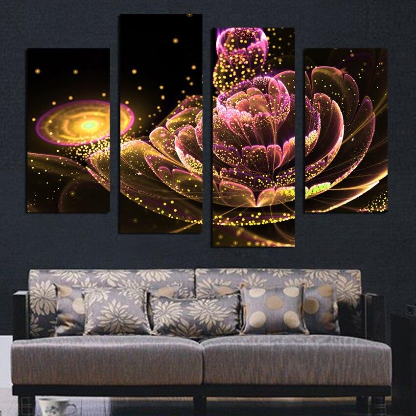 4 PCS Toile Peinture Glod Fleur e Peintures Pour Salon Une Telle Beauté Image Sur Le Mur Toile Imprimée Sans Cadre F1880 - 3